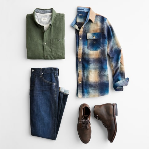 Stitch Fix men's clothes including an olive shirt, blue plaid shirt, jeans and brown leather boots.