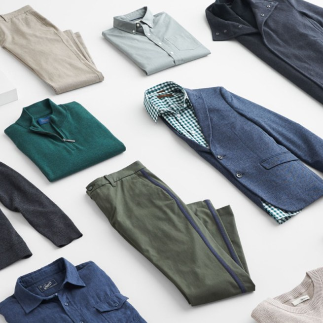 Stitch Fix men's clothes including pants, shirts, jackets, sweaters and blazers.