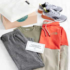 Stitch Fix men's athleisure clothes including an orange and grey hoodie, grey pants, olive t-shirt, grey sneakers and white shirt.