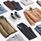 Stitch Fix men's winter clothes including an olive quilted jacket, brown shearling coat, pants, shoes and shirts.