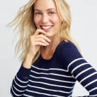 Navy and white striped maternity sweater.