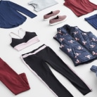 Activewear clothing including pink jogger pants, white shirt, grey shirt, purple patterned pants and black sneakers.