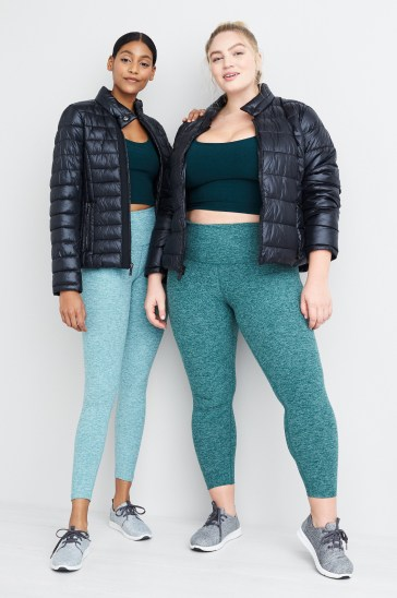 Teal activewear outfits including workout leggings, crop tops and navy puffer jackets.