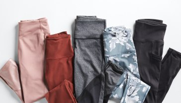 Maternity activewear leggings pants in pink, rust, grey, blue floral print, and black colors.