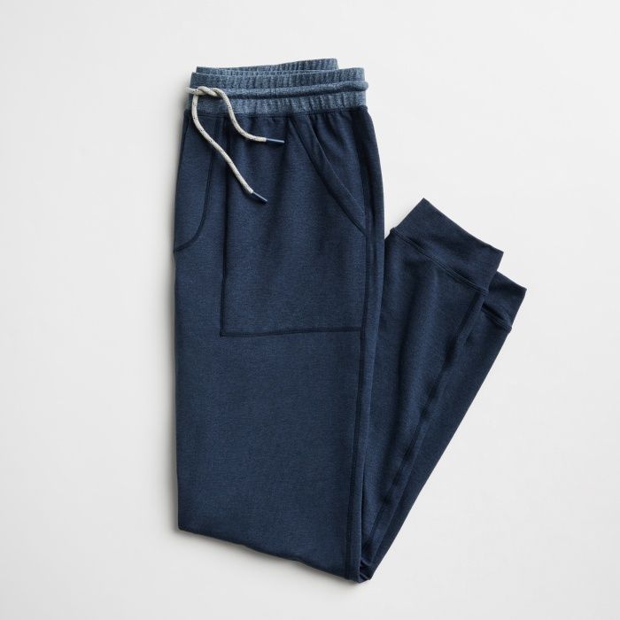 Men's jogger pants in navy blue with drawstring closure.