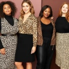 Four plus size outfits including leopard print dresses, skirts and tops with black accents.