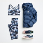 Teal activewear outfits including leggings, crop tops and navy puffer jackets.