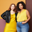 Plus size clothing including a yellow dress and top, leather jacket and jeans.