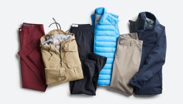 Men's athleisure clothing including pants, jackets and a vest in various colors.