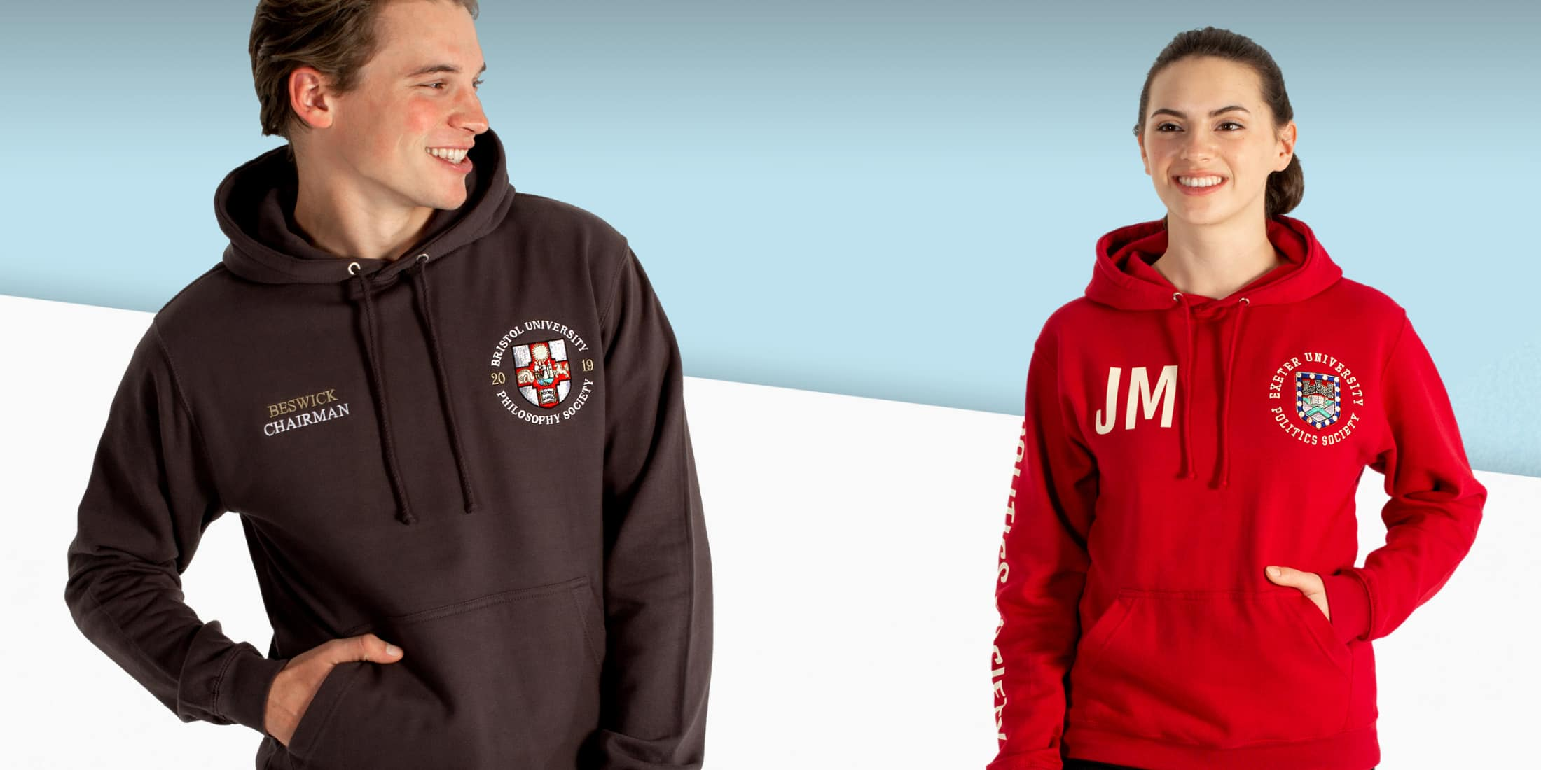 University logo hoodies for uni teams and societies