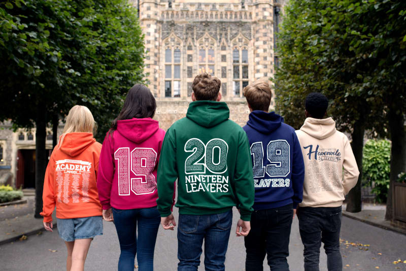 Models wear our College Hoodies with a variety of leavers prints