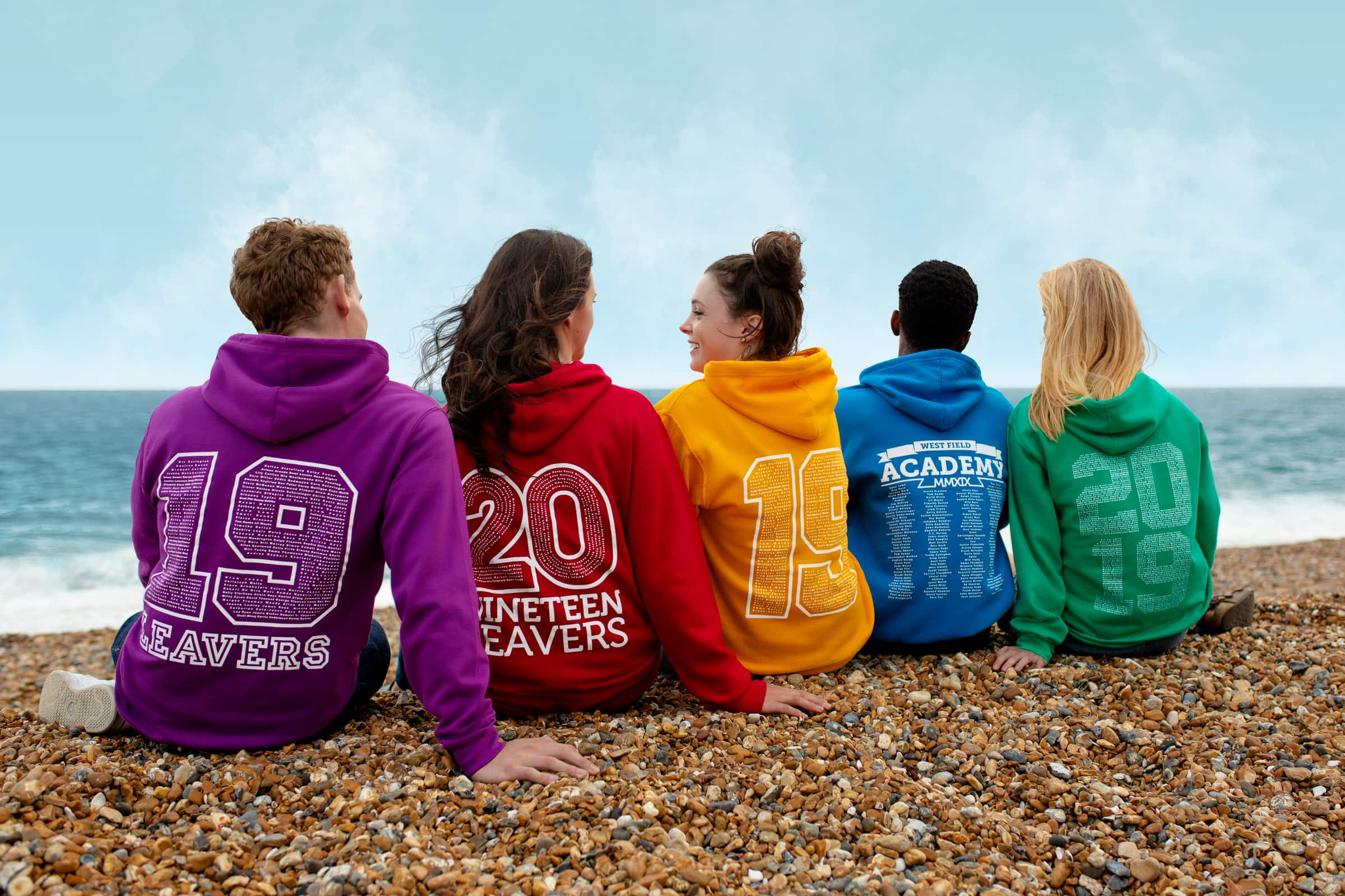 Leavers hoody, hoodie, sweatshirt with embroidered logo in red colour