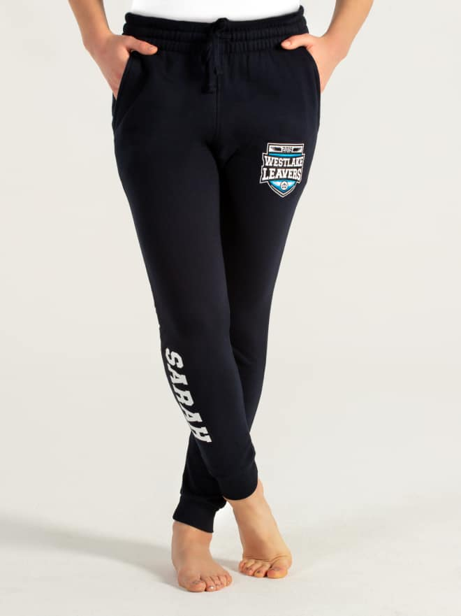 Custom printed embroidered joggers trackpants sweatpants text trackies