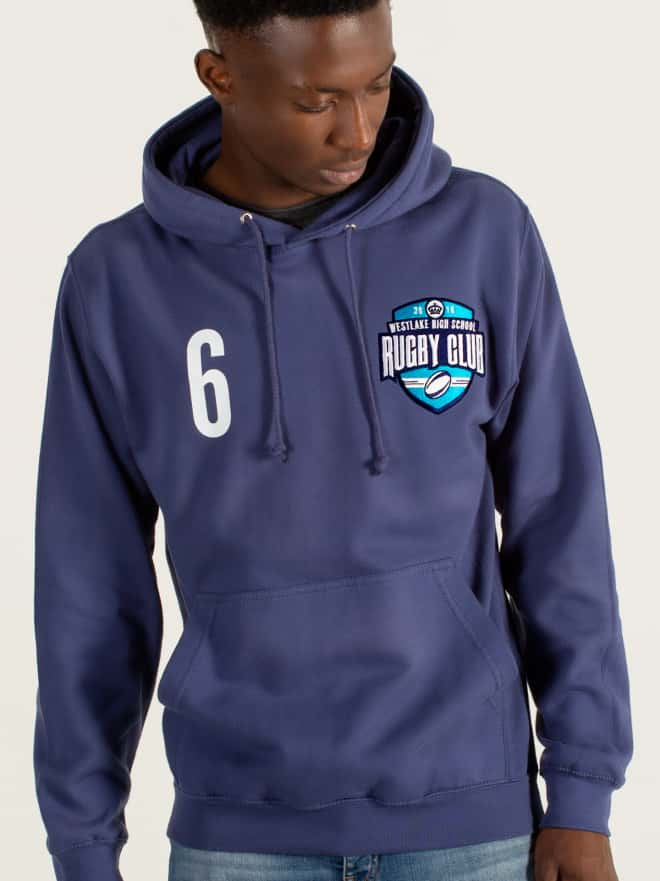 Sports team and club hoodies, sweatshirts, teamwear with logo printed embroidered names positions