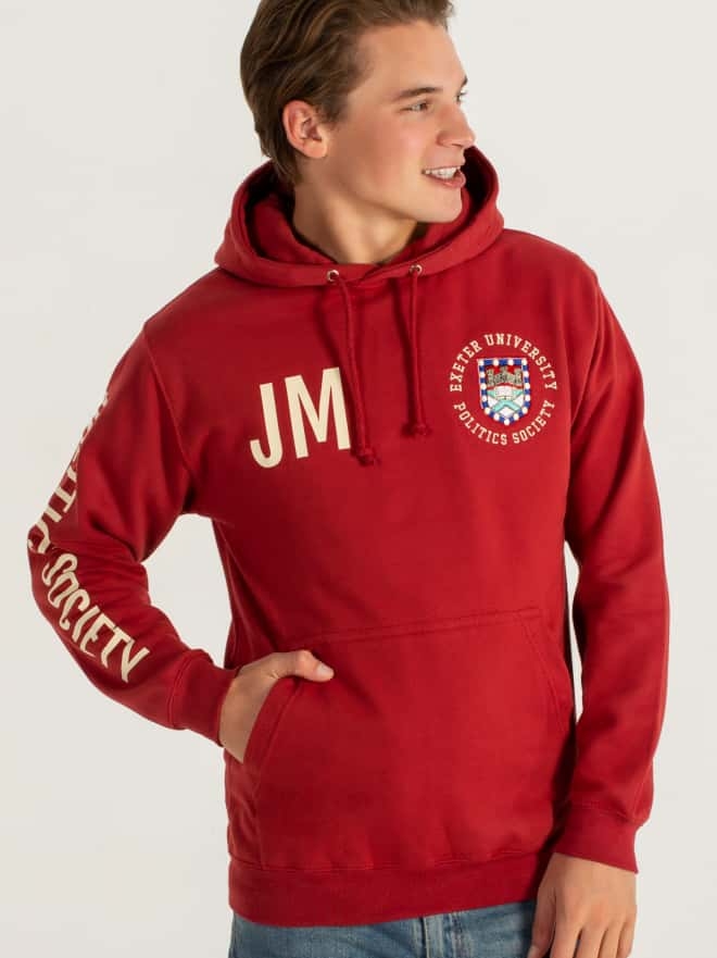 University society hoodies custom printed embroidered uni logo text design