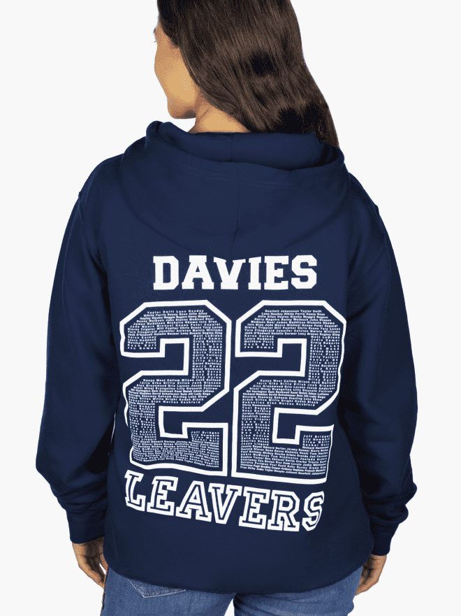 School leavers 2022 - year 11, year 13, 22 back prints with nicknames and school logo