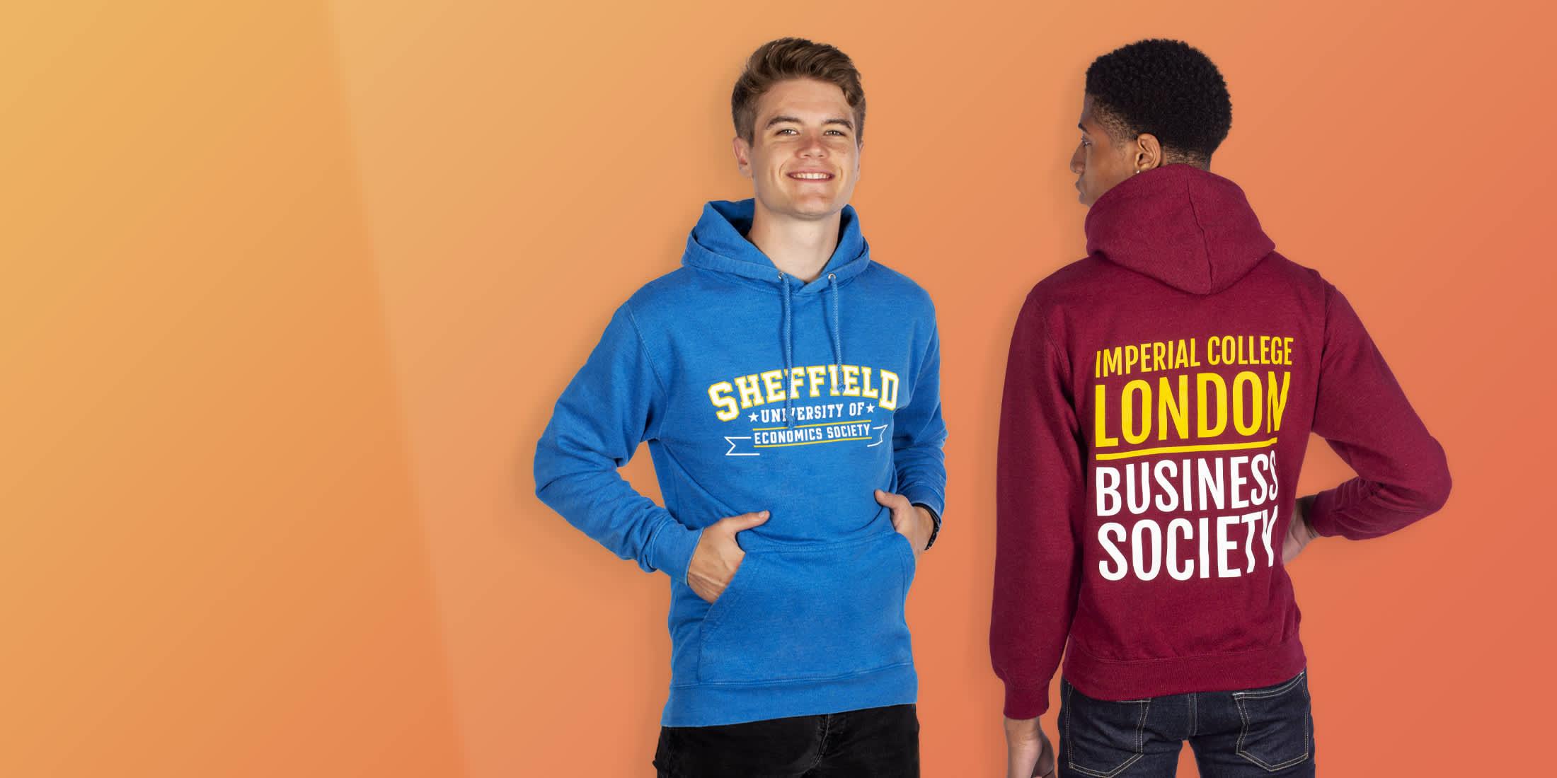 customise printed university hoodies