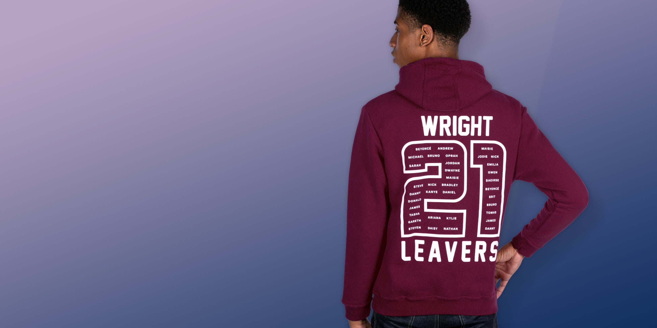 Leavers hoodies with names, nicknames, initials and personalisation