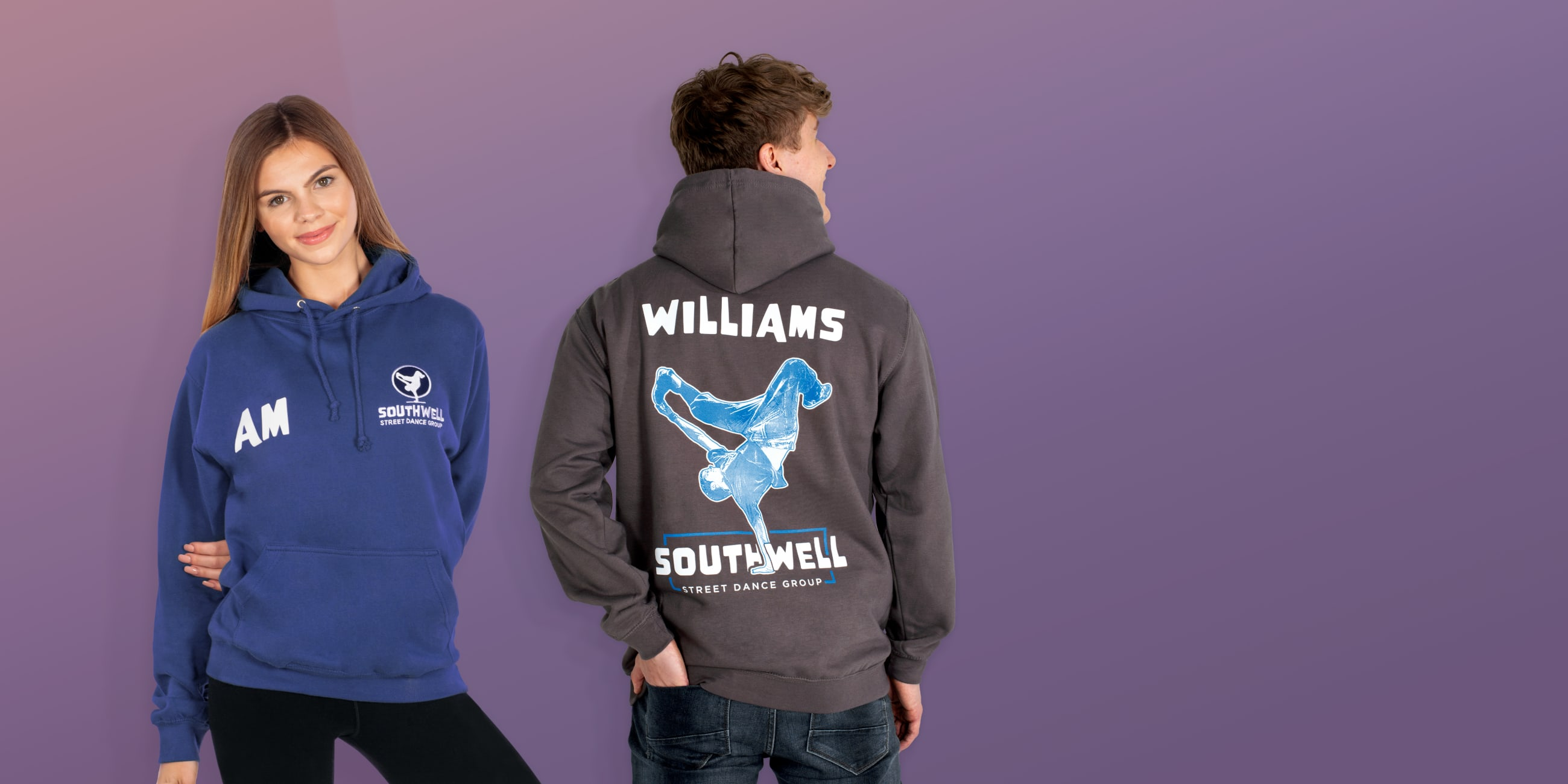 customise dane and theatre group hoodies with names
