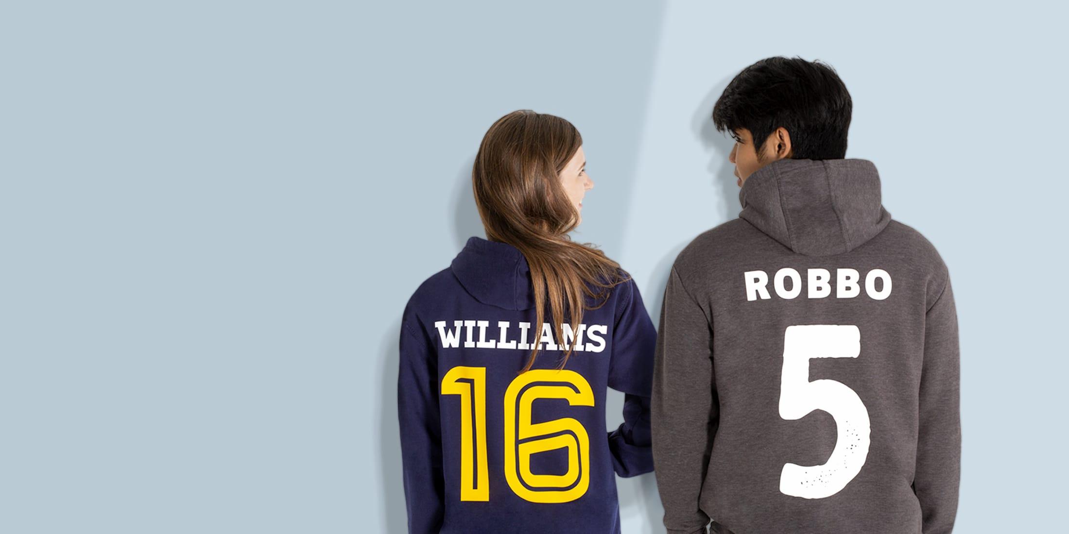Ski trip hoodies personalised with logos, names and numbers