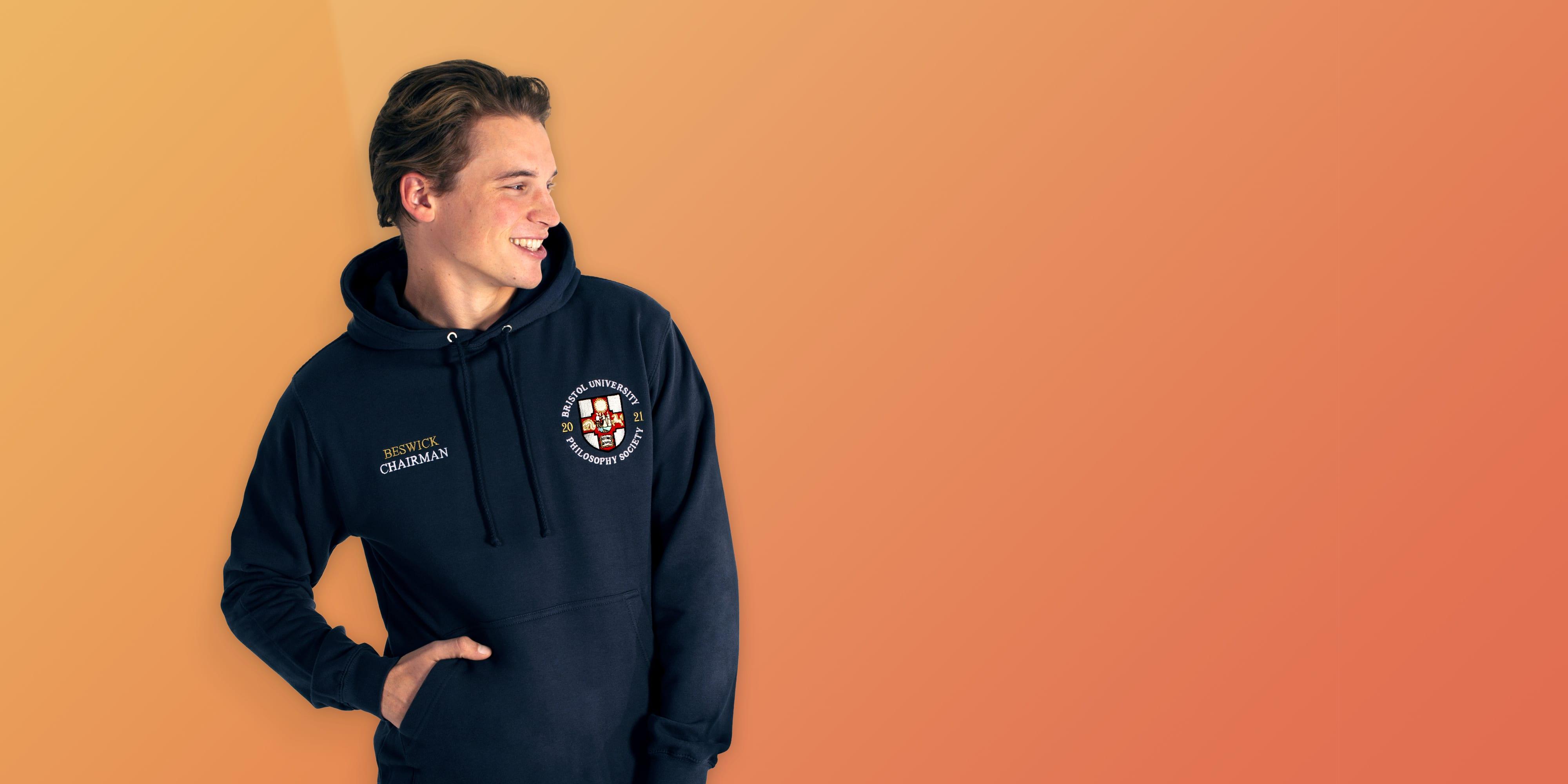 University logo hoodies for uni teams and societies