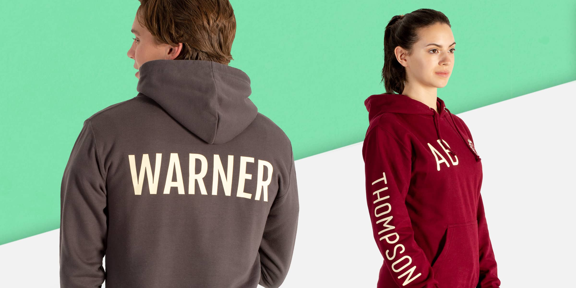 School trip hoodies and sweatshirts with names, nicknames, initials and personalisation