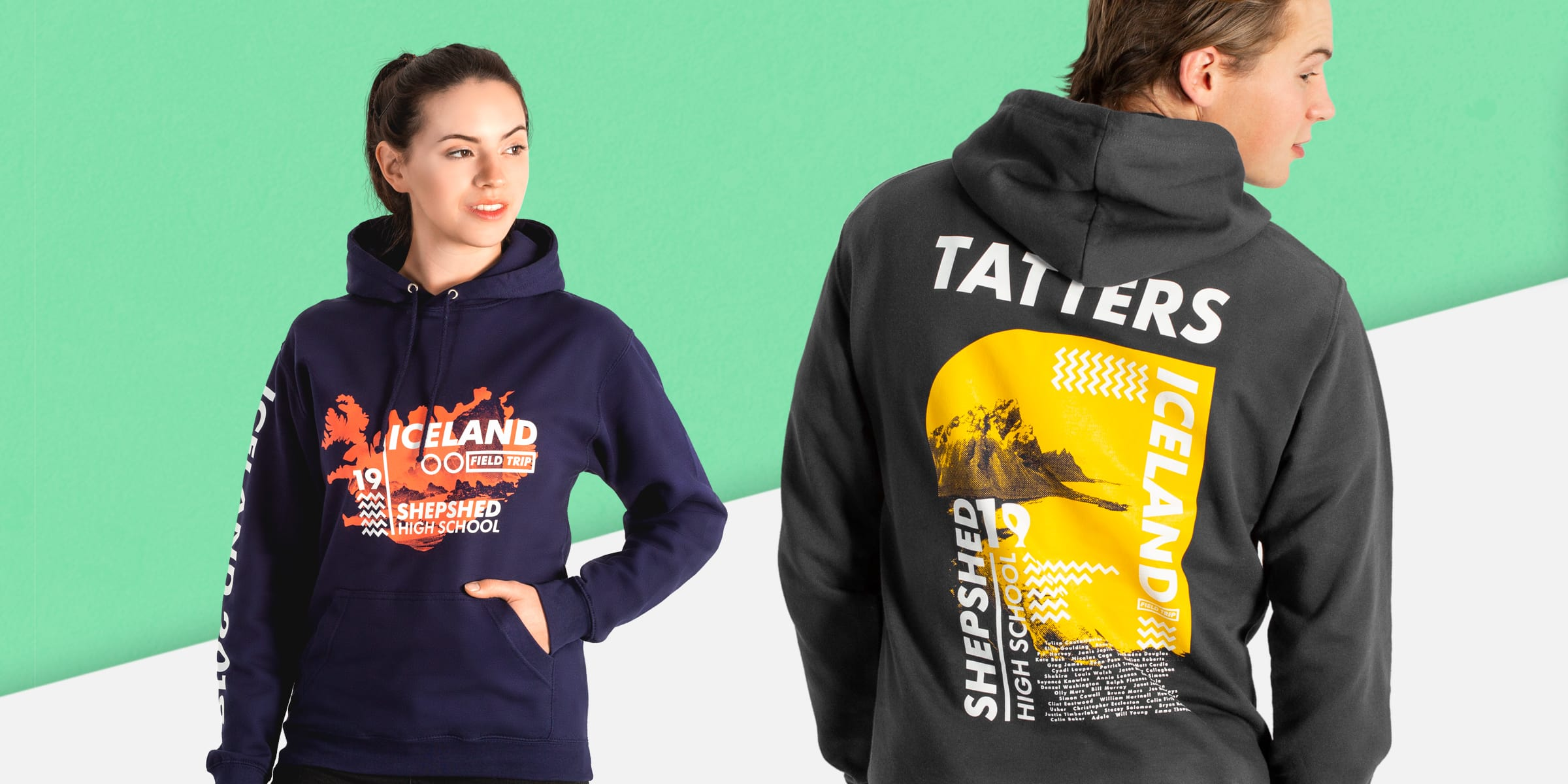 School trip hoodies with custom logos, maps, destinations and names.