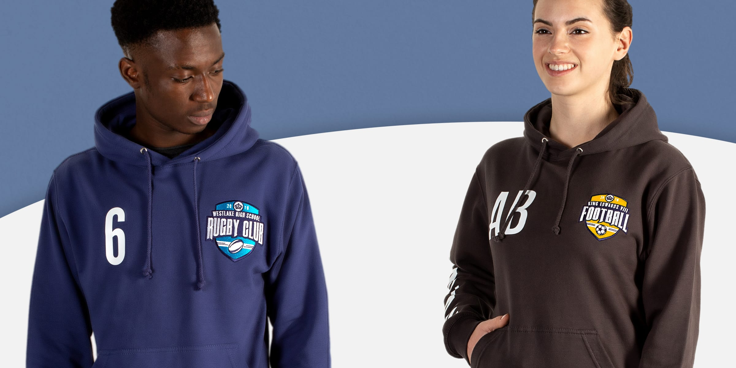 Sports teamwear hoodies and sweatshirts with names, nicknames, initials and personalisation