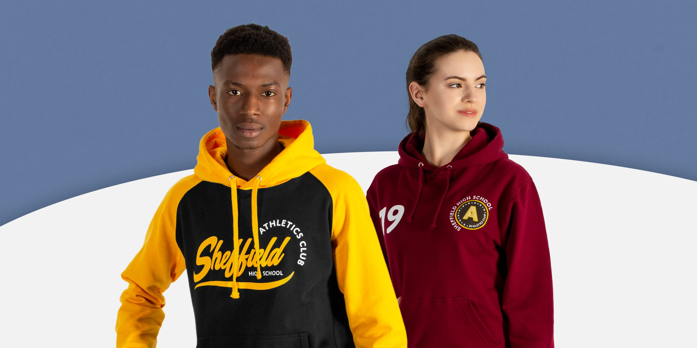 Sports team hoodies with custom logos, names and numbers for rugby, football, hockey, dance basketball teamwear.