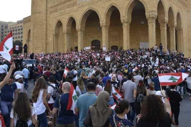 demonstrators in Lebanon