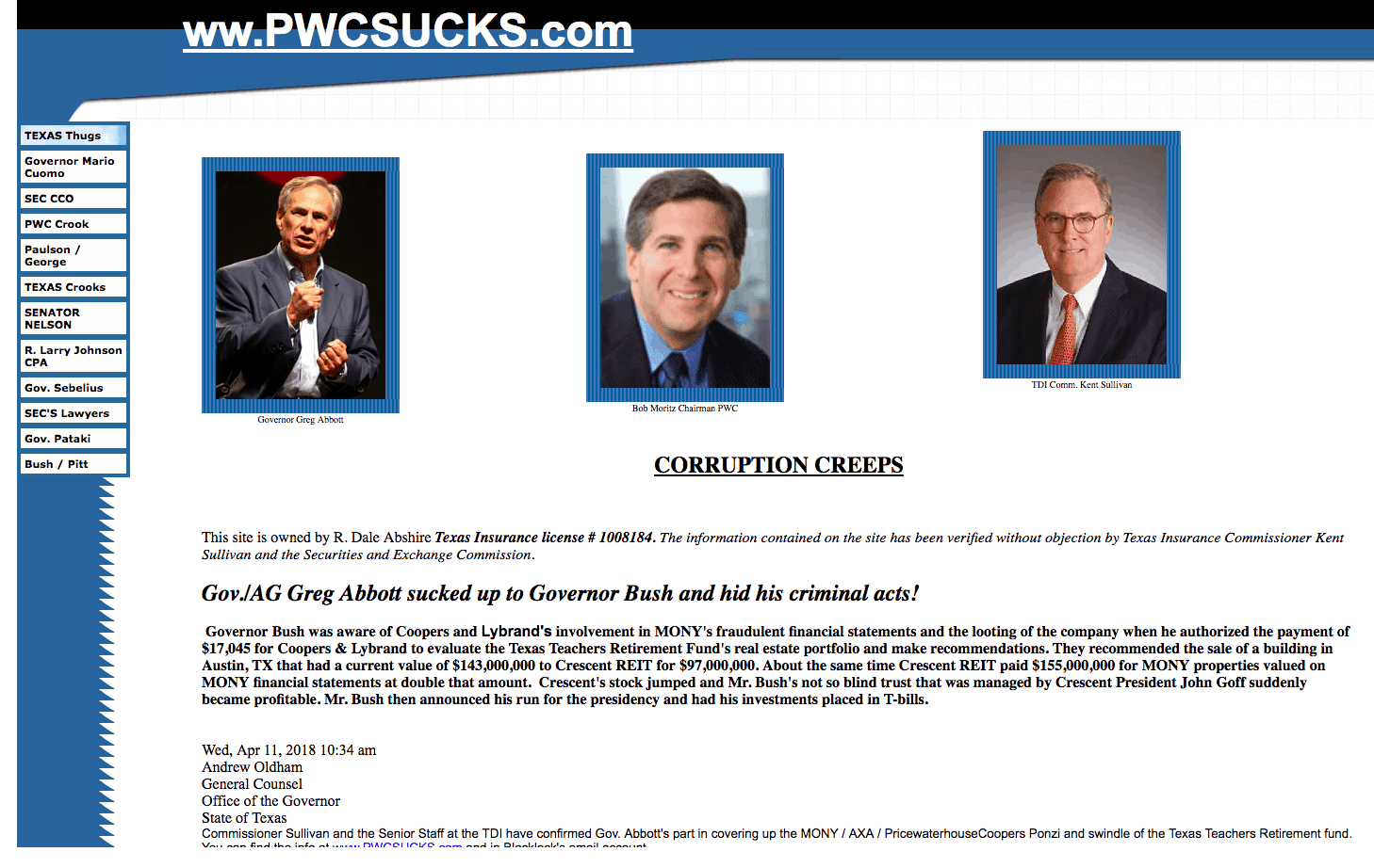 Screenshot of PwCsucks.com
