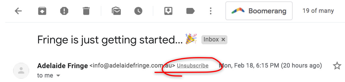 This image shows the unsubscribe button in an email shown in gmail.