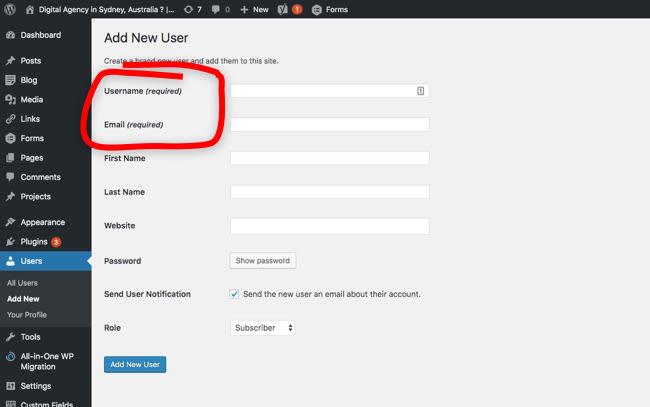 Screenshot of WordPress Dashboard adding a new user.