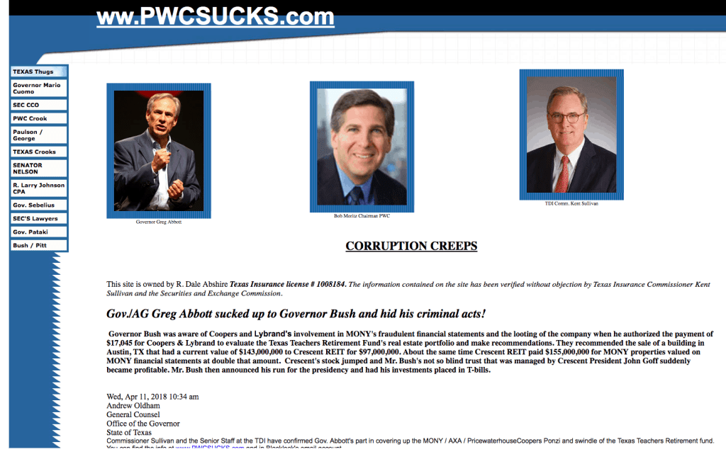 Screenshot of PwCsucks.com