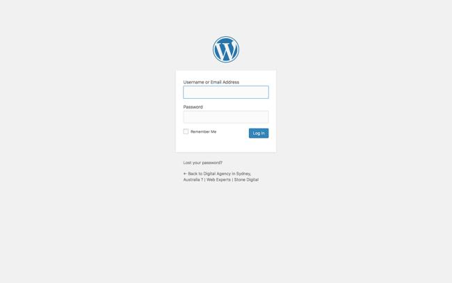 Screenshot of WordPress Dashboard Login Page.