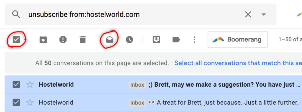 This image shows where you can quickly have unread emails turned into emails that are read. This is a method that can you help you quickly reduce your inbox clutter.