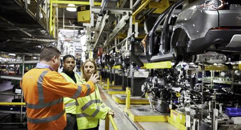 Private group viewing the Jaguar Land Rover Halewood car production line