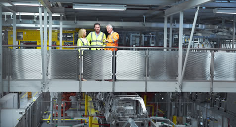 Viewing the Jaguar Land Rover production line at Solihull