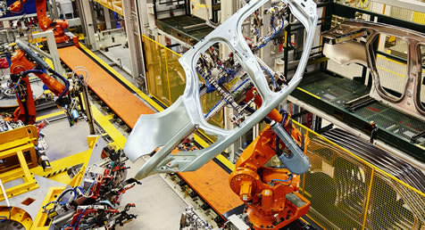 The Land Rover car production line at Solihull