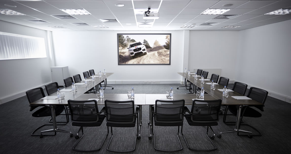 Meeting layout in the Lancaster Room, Jaguar Experience Castle Bromwich