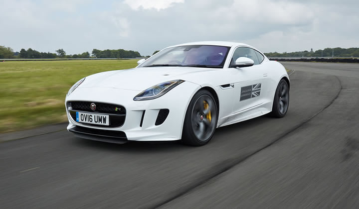 Jaguar F-TYPE driving on the Fen End performance test track