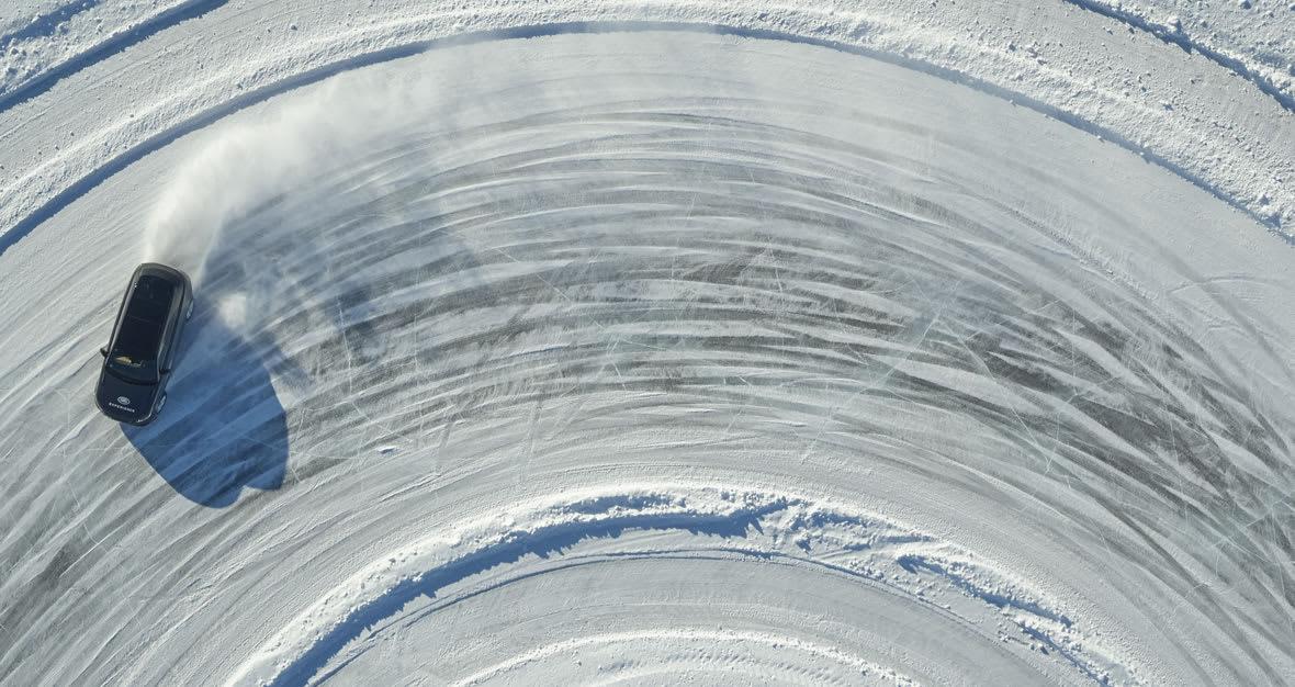 Jaguar Land Rover Ice Academy track on a frozen Swedish lake