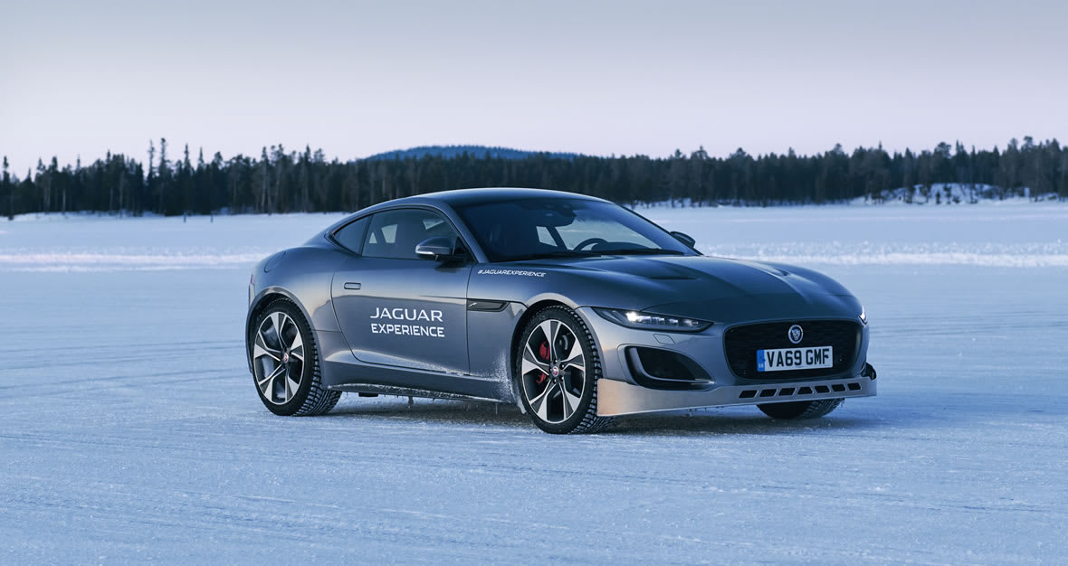 A Jaguar F-TYPE on the ice track at Land Rover Ice Academy Sweden