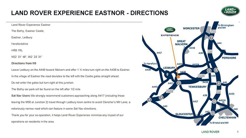 Land Rover Experience Eastnor Map