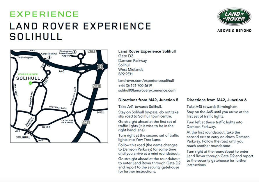 Land Rover Experience Solihull map for directions