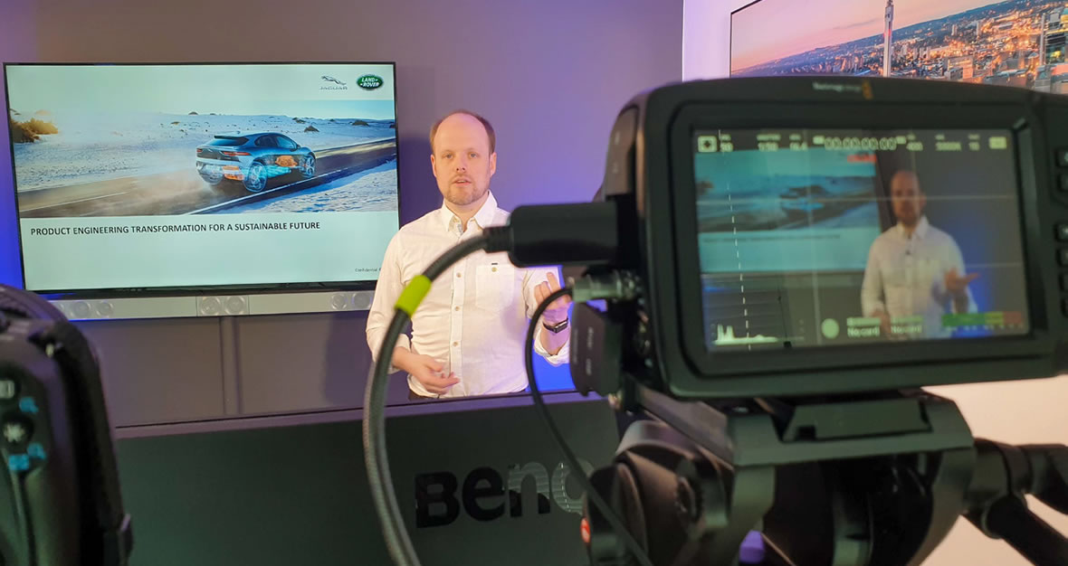 Jaguar Experience Instructor being recoded by video
