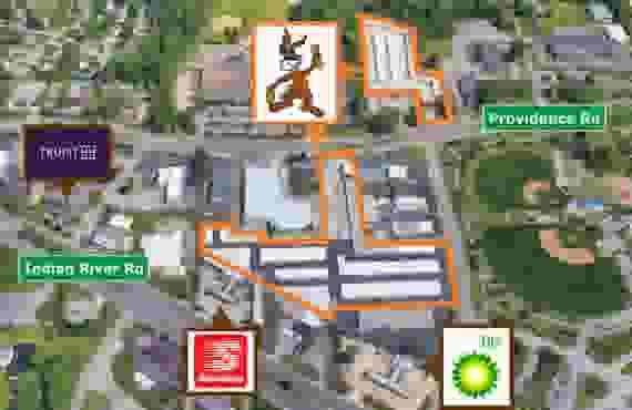 Aerial view of entire facility at Jack Rabbit Storage at 5929 Providence Rd, Virginia Beach, VA