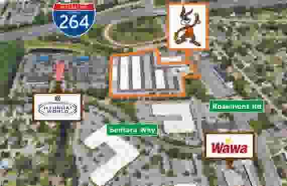 Aerial shot of entire facility at Jack Rabbit Storage at 189 S Rosemont Rd, Virginia Beach, VA