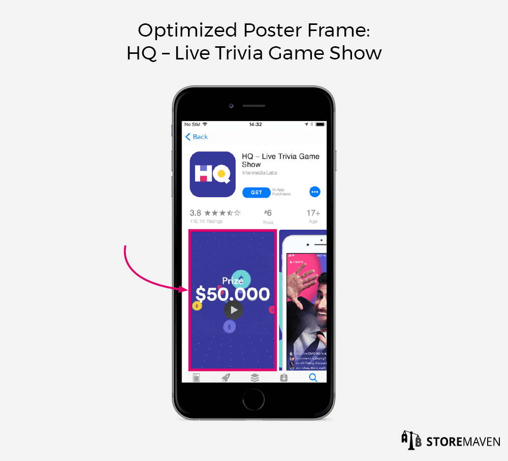 Optimized Poster Frame for an app store video