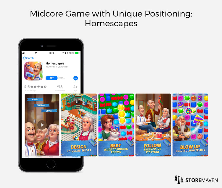 Midcore Game with Unique Positioning: Homescapes
